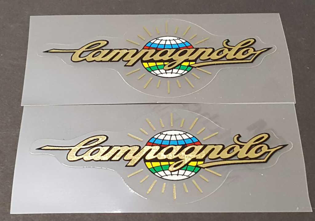 Campagnolo Top Tube Decals - 1 Pair - Mirror Gold