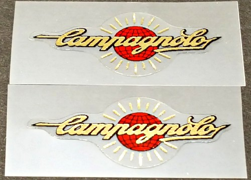 Campagnolo Tubing Decals - 1 Pair - Mirror Gold / Red Globe