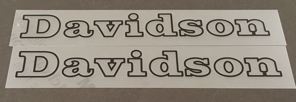Davidson Down Tube Decals - Outline Only - 1 Pair - Choose Color