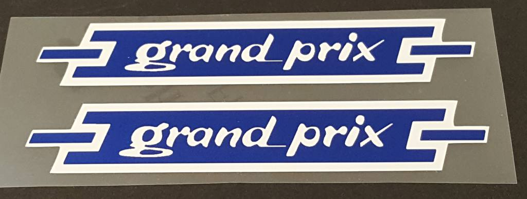 Atala Grand Prix Top Tube Decals - 1 Pair - White on Blue