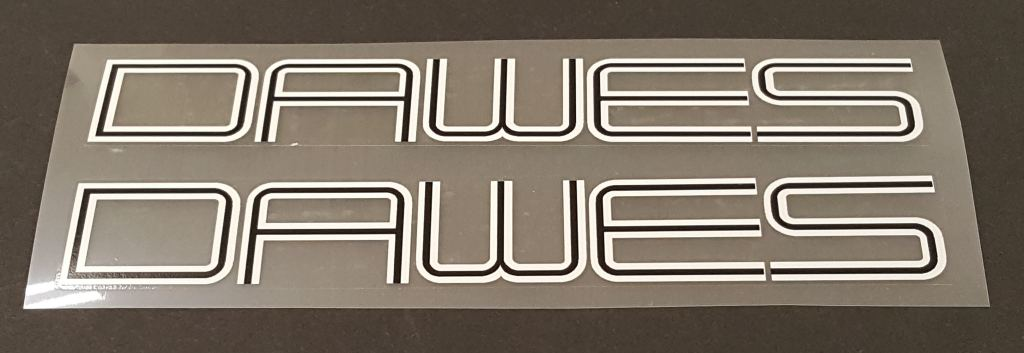 Dawes Down Tube Decals  - 1 Pair - Choice of Colors