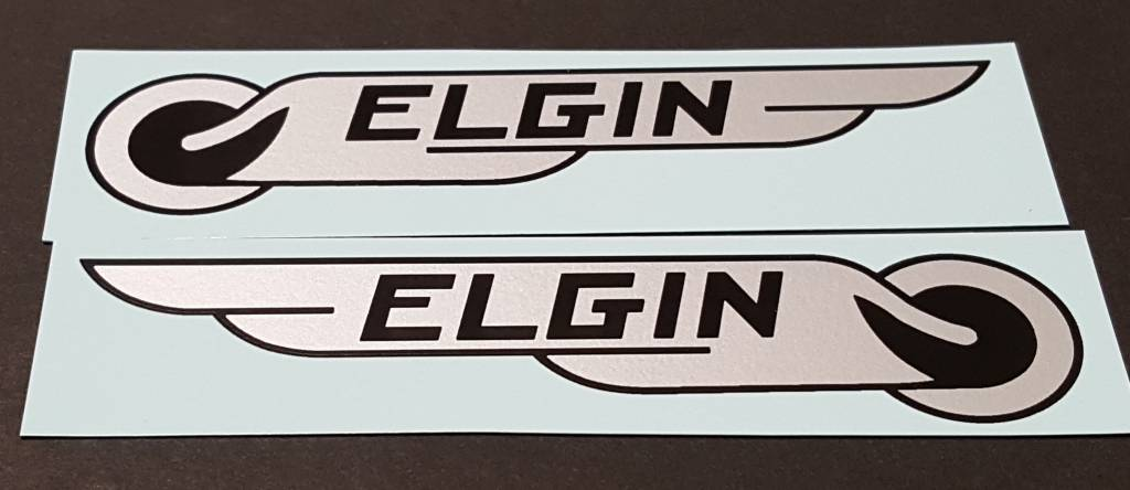 Elgin Bicycle Water Slide Tank Decals - Metallic Silver - 1 Pair