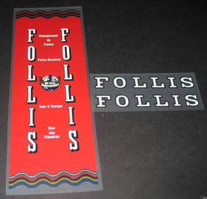 Follis Chrome Bicycle Decal Set - Red