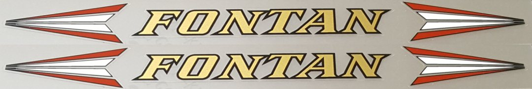 Fontan Bicycle Down Tube Decals - 1 Pair - Mirror Gold