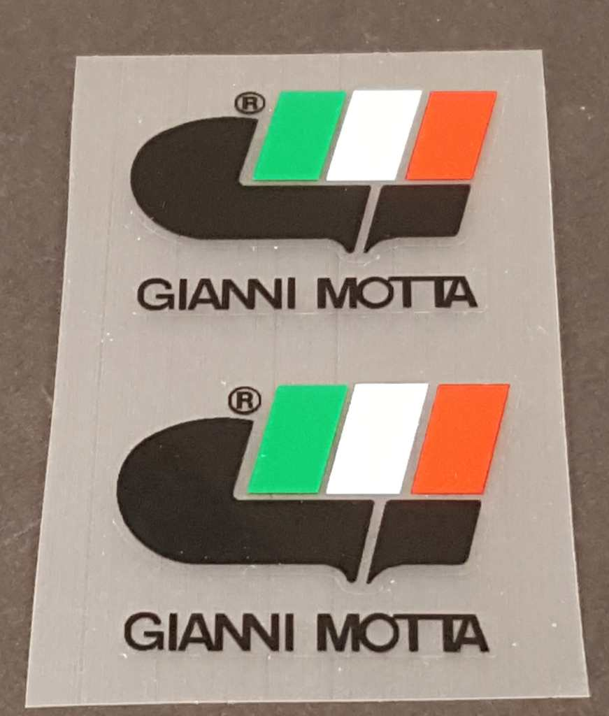 Gianni Motta Bicycle Logo Down Tube Decals - 1 Pair - Choose Color
