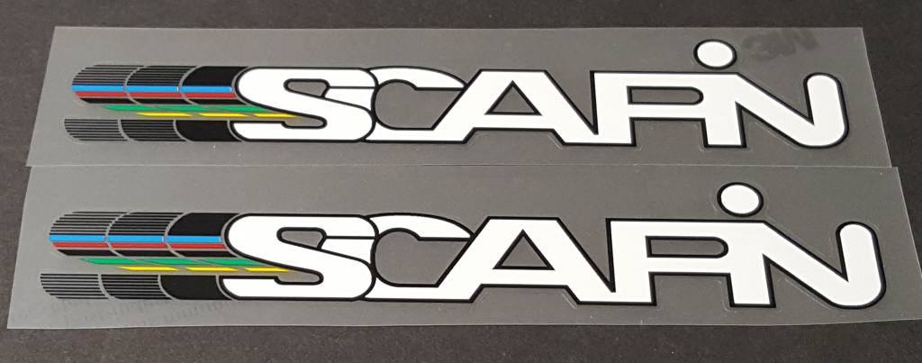 Scapin Bicycle Down Tube Decals w/Colored Trails - 1 Pair - Choose Colorss