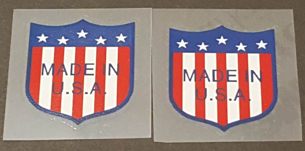 USA Flag/Shield Decals - 1 Pair - Blue