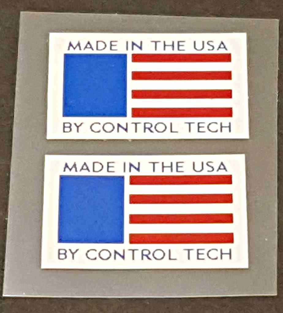 Made in USA Flag/Control Tech Decals - 1 Pair
