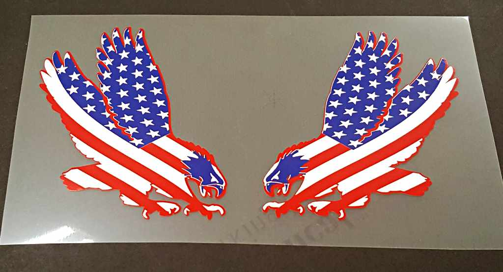 USA Flag/Eagle Decals - 1 Pair - Opposing