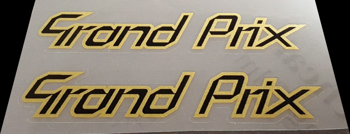 Grand Prix Top Tube Decals - 1 Pair - Black on Gold