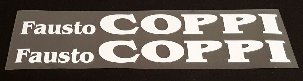 Fausto Coppi Bicycle Down Tube Decals - 1 Pair - Choose Color