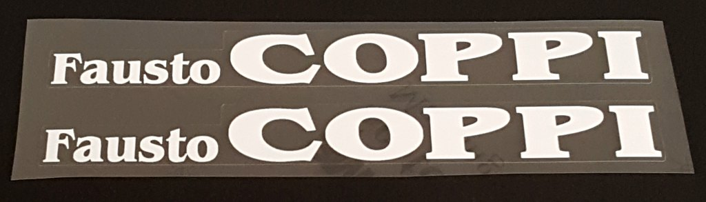 Fausto Coppi Bicycle Top Tube Decals - 1 Pair - Choose Color