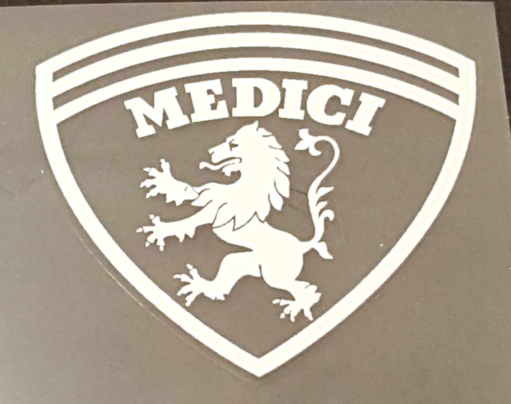 Medici Bicycle Head Badge Decal--Choose Color