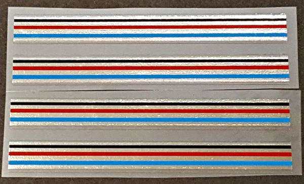 Zeus Bicycle Chrome Stripes Decals - 4 Red/Blue