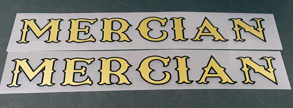 Mercian Bicycle Down Tube Decals - 1 Pair - Choose Colors