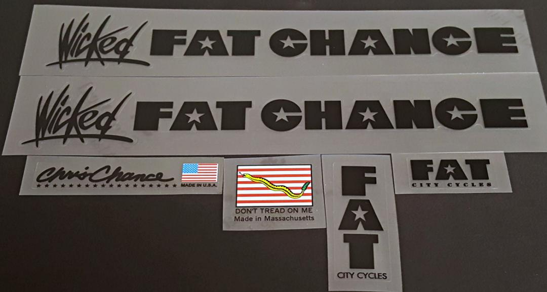 Fat Chance Wicked Bicycle Decal Set - Black