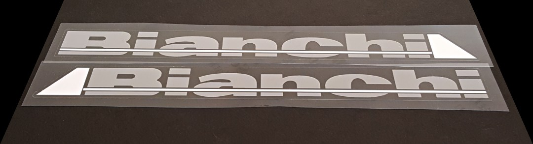 Bianchi Down Tube Decals - 1 Pair - Grey/White with Gloss UV Laminate- HALF PRICE