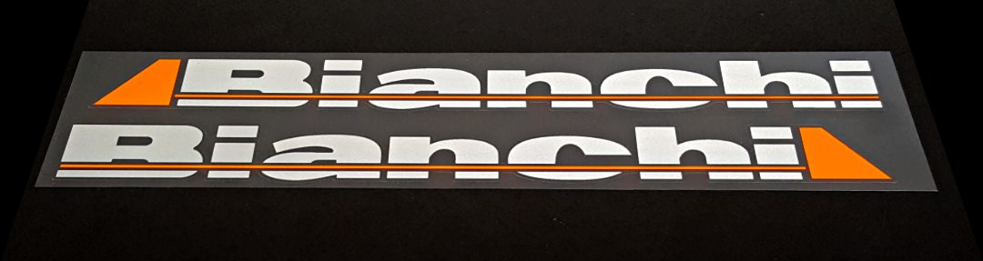 Bianchi Down Tube Decals - 1 Pair - Silver/Neon Light Orange with Glossy UV Laminate - HALF PRICE