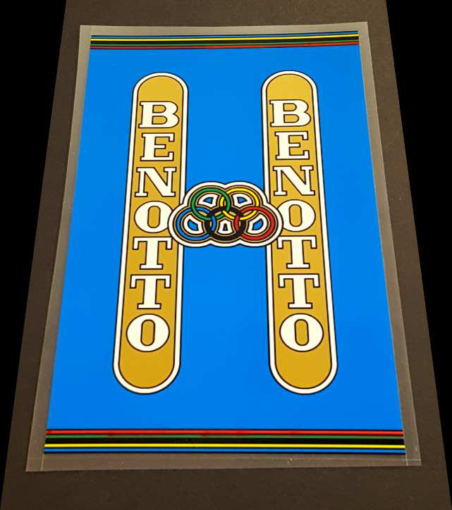 Benotto Seat Tube  Wrap Decal - Blue Background
