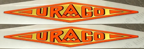 Urago Down Tube Decals - 1 Pair - Red/Mirror Gold