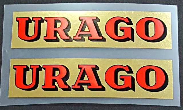 Urago Top Tube Decals - 1 Pair - Red/Mirror Gold