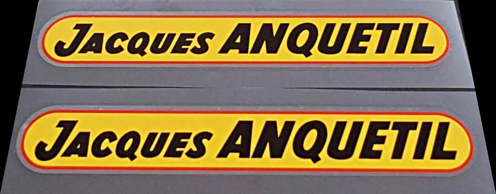 Jacques Anquetil Bicycle Down Tube Decals on Chrome - 1 Pair