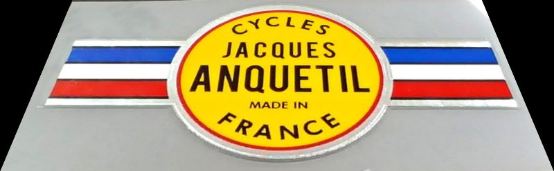 Jacques Anquetil Bicycle Head Badge Decal on Chrome