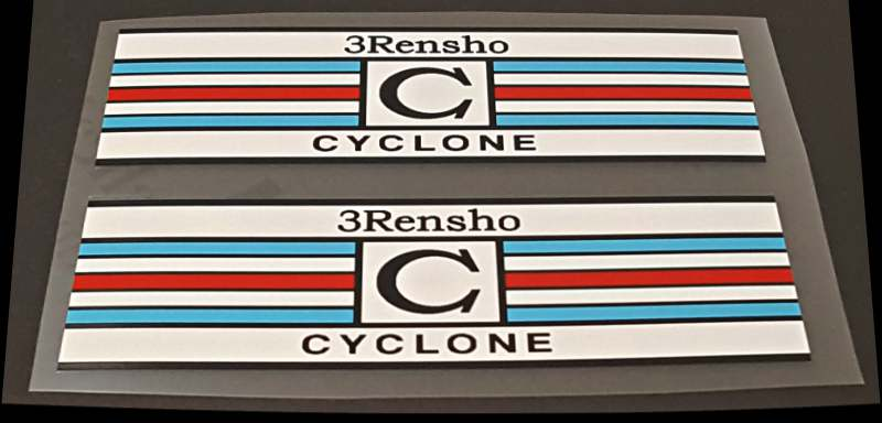 3 Rensho Seat Tube Striped Bands Decals - 1 Pair - Red/Blue