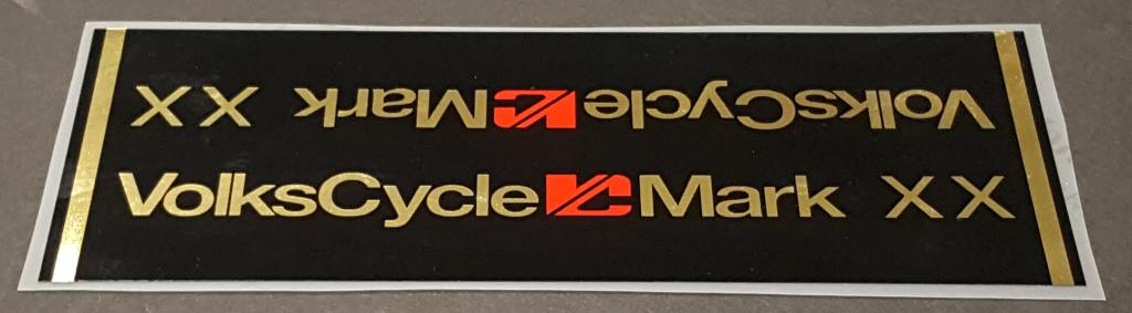 Volkscycle Mark XX Bicycle Down Tube Wrap Decal  Black/Mirror Gold
