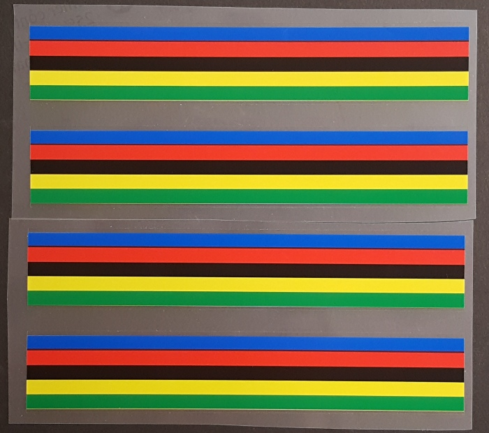 Striped Band Decals - 5 Color - 19mm - Set of 4