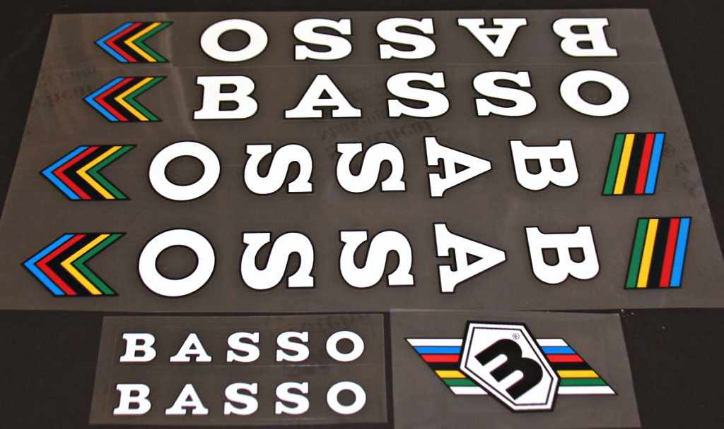 Basso Bicycle Decal Set - White Letters - Black Outline