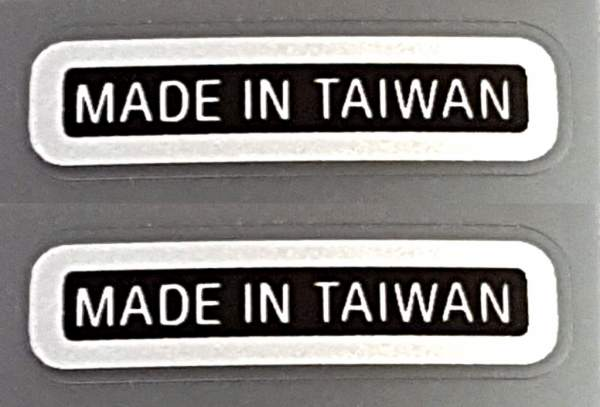 Made in Taiwan Declas - Chrome on Black (small) - 1 Pair