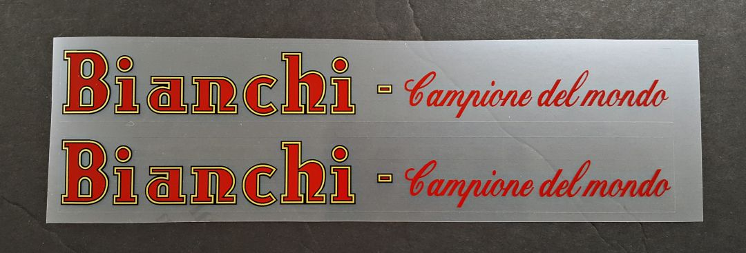 Bianchi Campione del Mundo Down Tube Decals-1 Pair - Choice of Colors