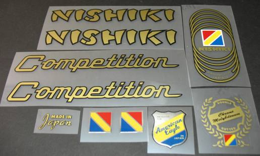 Nishiki Competition Bicycle Decal Set