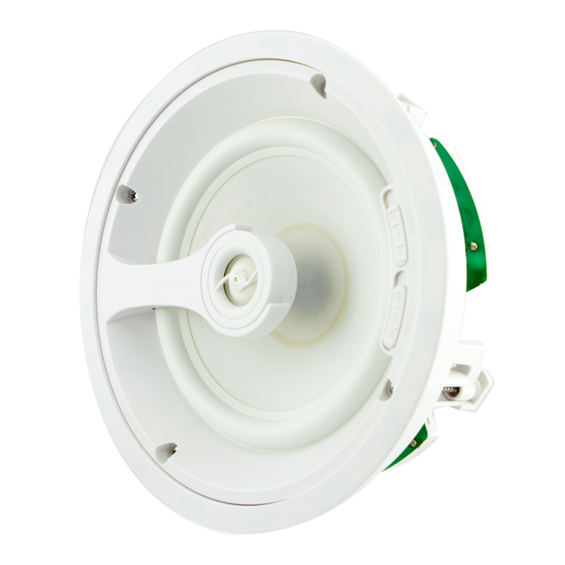 "TruAudio Ghost Series 2-way In-Ceiling Speaker, 8"" white polypropylene woofer. Front, side."