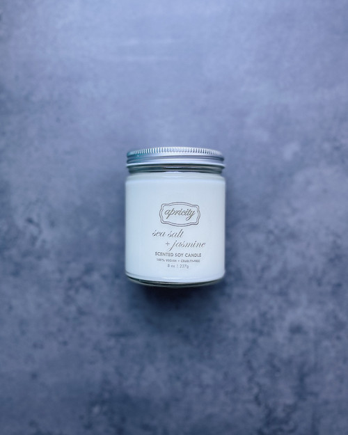 SEA SALT + JASMINE (standard) | luxe scented soy candle