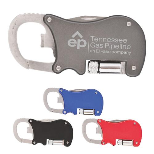 Bottle Opener Carabiner with Flashlight & Knife
