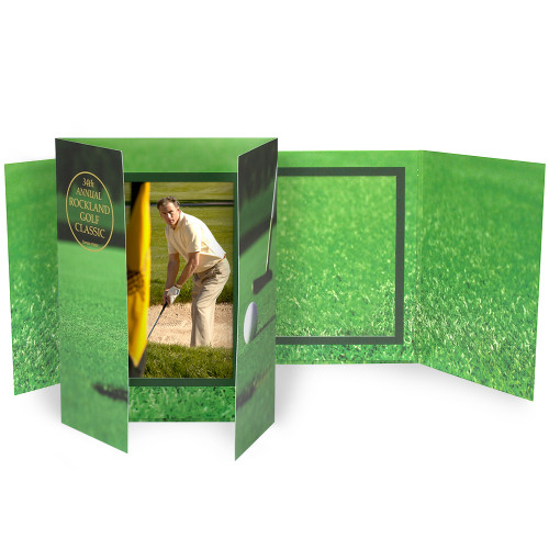 Golf Gatefold Photo Holder - Portrait or Landscape - 6 x 4 or 5 x 7 (PRINTED)