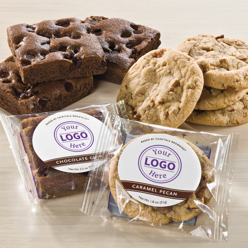 Custom labeled, individually wrapped brownies available in 12 flavors