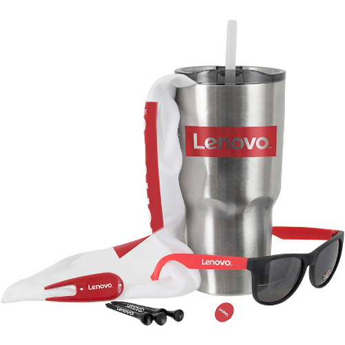 The Kong Golf Kit includes a tumbler, towel, tees, ball marker and sunglasses.