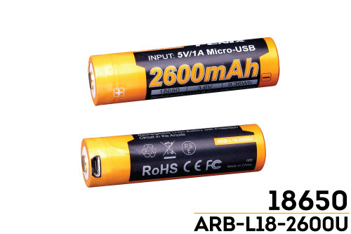 Fenix ARB-L18-2600U USB Rechargeable Li-ion 18650 Battery