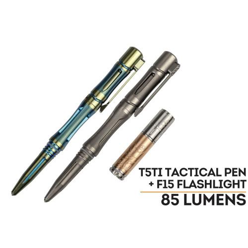 Fenix T5Ti Tactical Pen and Fenix F15 LED Flashlight Set