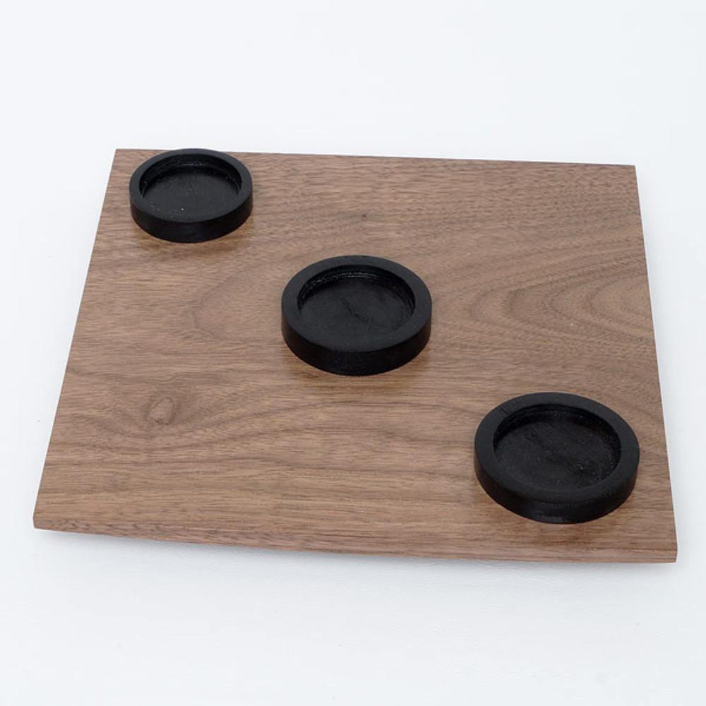 Oregon black walnut serving tray with three handmade ceramic teacups