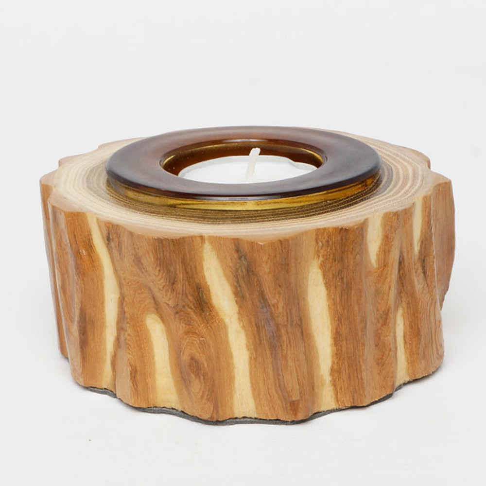 Black locust candle holder with glass insert