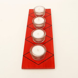 Red candle holder with diamond pattern