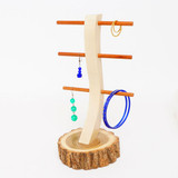 Live Bark Locust Wood Earring Stand