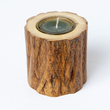 Branch candle holder with natural bark and clear glass insert