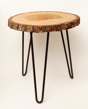 Tree slice end tables made from Oregon Douglas fir with metal hairpin legs
