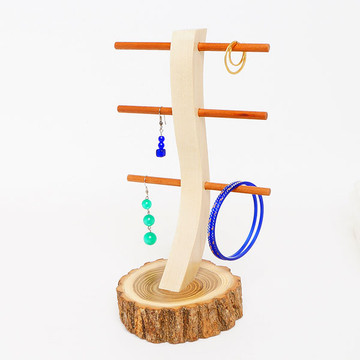 Live Bark Locust Wood Earring Stand