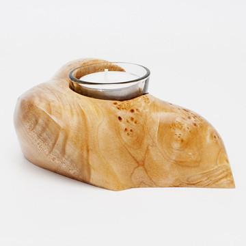 Maple burl candle holder